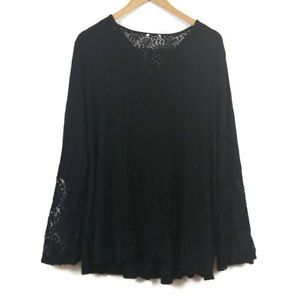 Avenue Black Long Sleeve Lace Insert Top 22/24